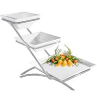 Cal-Mil PP203-39 Prestige Platinum Three Tier Wire Stand with One Square Porcelain Platter and Two Square Porcelain Bowls - 14 inch x 15 inch x 15 inch