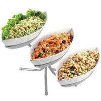 Cal-Mil SR304-39 Platinum Three Tier Display with Canoe Melamine Bowls - 16 1/2 inch x 18 1/2 inch x 10 1/2 inch