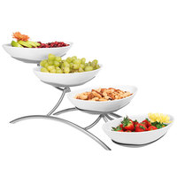 Cal-Mil PP2000-39 Prestige Platinum Four Tier Wire Stand with Oval Porcelain Bowls - 7 inch x 19 inch x 9 inch