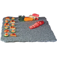 Cal-Mil SS2289-30 Gourmet Display 22 inch Gray Square Simulated Quarry Stone Acrylic Tray