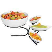 Cal-Mil SR801-13 Black Incline Display with Three Small Canoe Melamine Bowls and One Large Round Melamine Bowl - 17 inch x 27 inch x 11 inch