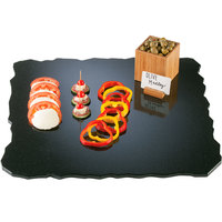 Cal-Mil SS2289-31 Gourmet Display 22 inch Black Square Simulated Quarry Stone Acrylic Tray