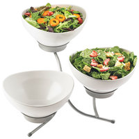 Cal-Mil SR701-39 Platinum Three Tier Incline Resting Bowl Display with Round Melamine Bowls - 21 inch x 18 inch x 19 inch
