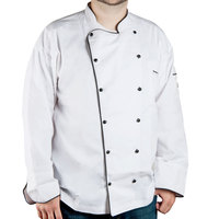Chef Revival Gold J044-L Men's Chef-Tex Breeze Size 46 (L) Customizable Poly-Cotton Brigade Chef Jacket with Black Piping