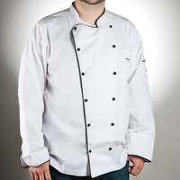 Chef Revival J044-L Men's Chef-Tex Breeze Size 46 (L) Customizable Poly-Cotton Brigade Chef Jacket with Black Piping