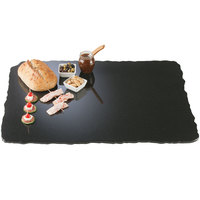 Cal-Mil SS3039-31 Gourmet Display 23 inch x 30 inch Black Rectangle Simulated Quarry Stone Acrylic Tray