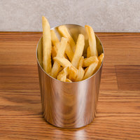 Angled Stainless Steel French Fry Cup - 4 inch