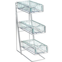 Cal-Mil 1235-39-43 Platinum 3-Tier Metal Flatware / Condiment Display with Faux Glass Bins