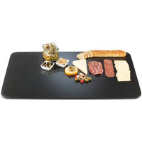 Cal-Mil SS353-31 Gourmet Display 35 inch x 19 inch Black Rectangular Simulated Stone Acrylic Tray