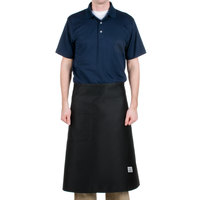 Chef Revival 607BA-BK Customizable Long Black Crew Bistro Apron with One Pocket - 30 inchL x 33 inchW