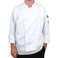 Chef Revival Silver J002-8X Knife and Steel Size 76-78 (8X) White Customizable Long Sleeve Chef Jacket - Poly-Cotton Blend