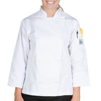 Chef Revival Silver LJ027-M Knife and Steel Size 8 (M) White Customizable Ladies Long Sleeve Chef Jacket - Poly-Cotton Blend with Chef Logo White Buttons