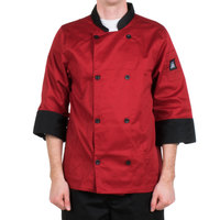 Chef Revival Bronze J134TM-XS Cool Crew Fresh Size 32-34 (XS) Tomato Red Customizable Chef Jacket with 3/4 Sleeves - Poly-Cotton