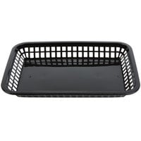 Tablecraft 1079BK Mas Grande 11 3/4 inch x 8 1/2 inch x 1 1/2 inch Black Rectangular Polypropylene Fast Food Basket - 12/Pack