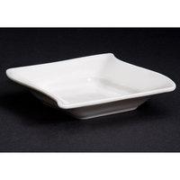 CAC SOH-11 Soho 6 oz. Ivory (American White) Square Stoneware Fruit / Monkey Dish - 36/Case