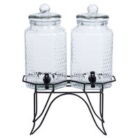 Acopa Double 1 Gallon Glass Beverage Dispenser with Metal Stand