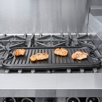Lodge LPG13 20 inch x 10 1/2 inch x 3/4 inch Pre-Seasoned Cast Iron Reversible Griddle and Grill Pan