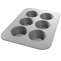 Chicago Metallic 26500 6 Cup 7.1 oz. Glazed Aluminized Steel Texas Muffin Pan - 11 1/8 inch x 15 3/4 inch