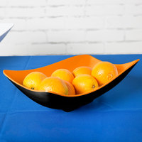 GET ML-219-OR/BK Brasilia 1.9 Qt. Orange and Black Flare Melamine Bowl - 3/Case
