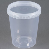 32 oz. Clear Tamper Evident Safe Lock Deli Container with Lid - 50/Case