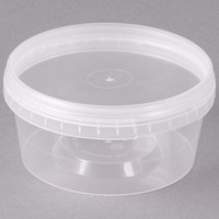 12 oz. Clear Tamper Evident Safe Lock Deli Container with Lid - 50/Case