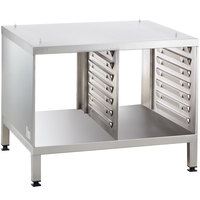 Rational 60.30.329 UG II 35 3/8 inch x 30 3/4 inch Mobile Open Front and Back Equipment Stand for 61 and 101 Combi Ovens (14 Pan Capacity)