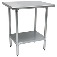 "Advance Tabco AG-300 30"" x 30"" 16 Gauge Stainless Steel Work Table with Galvanized Undershelf"