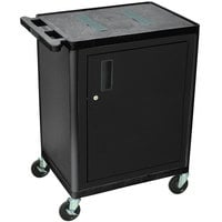 Luxor / H. Wilson LEF34C-B 2 Shelf Black A/V Cart with Locking Cabinet - 24 inch x 18 inch x 34 inch