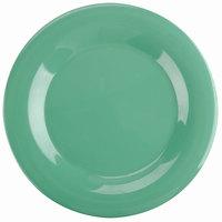Thunder Group CR010GR 10 1/2 inch Green Wide Rim Melamine Plate - 12/Pack