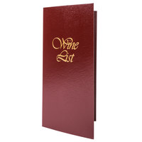 5 1/2 inch x 11 inch Menu Solutions L702C Wine List Cover - Burgundy