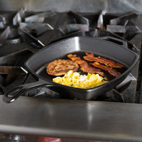 Lodge L8SQ3 10 1/2 inch Square Pre-Seasoned Cast Iron Skillet