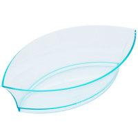 Fineline Tiny Temptations 6207-GRN 4 1/2 inch x 2 1/2 inch Tiny Treasures Disposable Green Plastic Tray   - 10/Pack