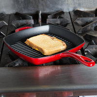 Lodge ECSGP43 10 inch Square Island Spice Red Color Enamel Grill Pan