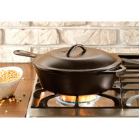 Lodge L8CF3 10 1/2 inch Pre-Seasoned Cast Iron Covered Chicken Fryer Deep Skillet