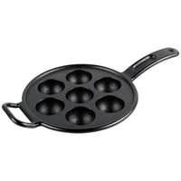 Lodge Pro-Logic P7A3 7 Impression 1.35 oz. Pre-Seasoned Cast Iron Aebleskiver Pan - 9 inch x 15 7/8 inch