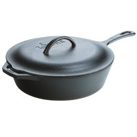 Lodge L10CF3 12 1/2 inch Pre-Seasoned Cast Iron Covered Chicken Fryer Deep Skillet