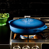 Lodge EC3CC33 3.6 Qt. Caribbean Blue Enameled Cast Iron Casserole Dish with Cover