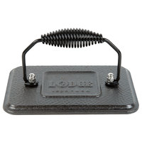 Lodge LGP3 6 3/4 inch x 4 1/2 inch Rectangular Pre-Seasoned Hammered Finish Cast Iron Grill Press