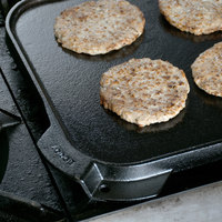 Lodge LSRG3 10 1/2 inch x 10 1/2 inch Pre-Seasoned Reversible Cast Iron Griddle and Grill Pan