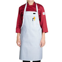 Chef Revival 600BAWD Customizable Deluxe White Poly-Cotton Bib Apron with Pen Pocket - 34 inchL x 34 inchW