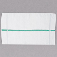 Chef Revival HTI15GS 15 inch x 25 inch Green Stripe 44 oz. 100% Cotton Terry Oversized Chef Towel - 12/Pack