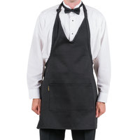 Chef Revival Black Poly-Cotton Customizable Tuxedo Apron with 2 Pockets - 32 inchL x 28 inchW