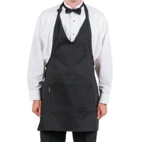 Chef Revival VNA3840-BK Customizable Black Tuxedo V-Neck Apron with Two Pockets - 32 inchL x 28 inchW