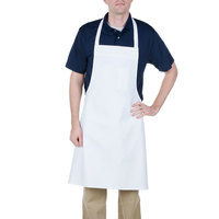 Chef Revival 600BAW 34 inch x 34 inch Customizable Economy White Bib Apron with Pen Pocket