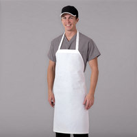 Chef Revival 600PS-NP 32 inch x 27 inch Customizable White Polyester Bib Apron