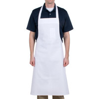Chef Revival 610BAC Customizable Economy White Cotton Bib Apron with Pen Pocket - 36 inchL x 40 inchW