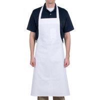 Chef Revival 610BAC Customizable Economy White Cotton Bib Apron with Pen Pocket - 36 inchL x 40 inchW