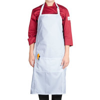 Chef Revival 619BA-WH Customizable White Bib Apron with Two Front Pockets - 38 inchL x 29 inchW