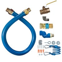 Dormont 16100KITS72 Blue Hose Stainless Steel Moveable Foodservice Gas Connector with Swivel - 72 inch x 1 inch