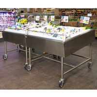 Winholt SSMIT-4848-MLC-SNG-KIT Stainless Steel Insulated Cold Food Display Table with Basket Drain and Shut-Off Valve - 48 inch x 48 inch x 40 inch